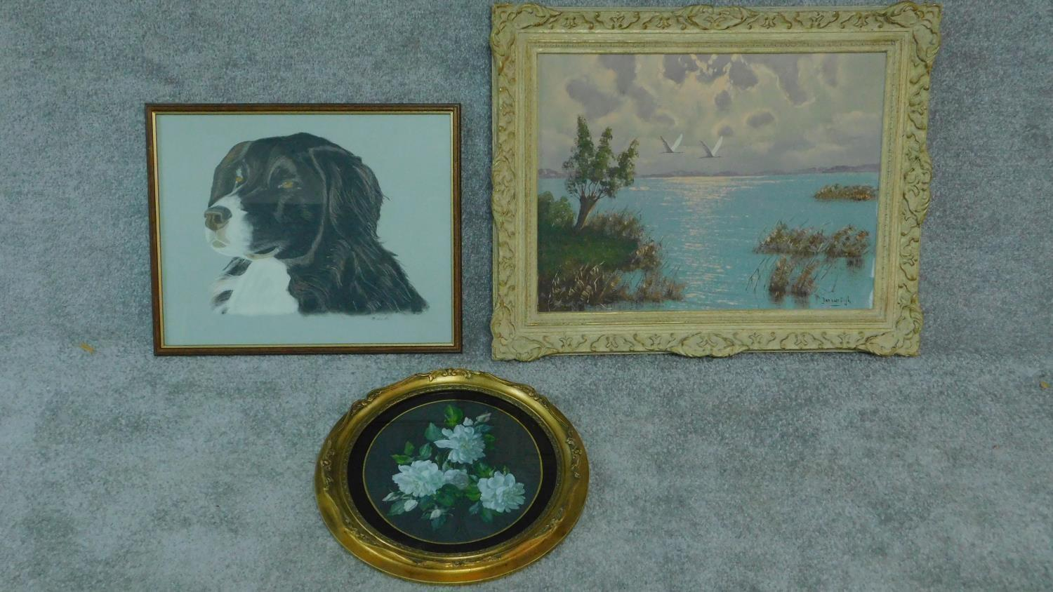 A gilt framed oval oil on board, flowers, an oil on canvas lake scene and and a pastel portrait of a