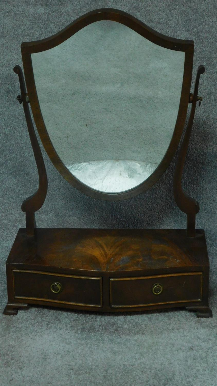 A Georgian style mahogany swing mirror with fitted base and a similar Edwardian oak mirror. H.64cm - Image 3 of 5