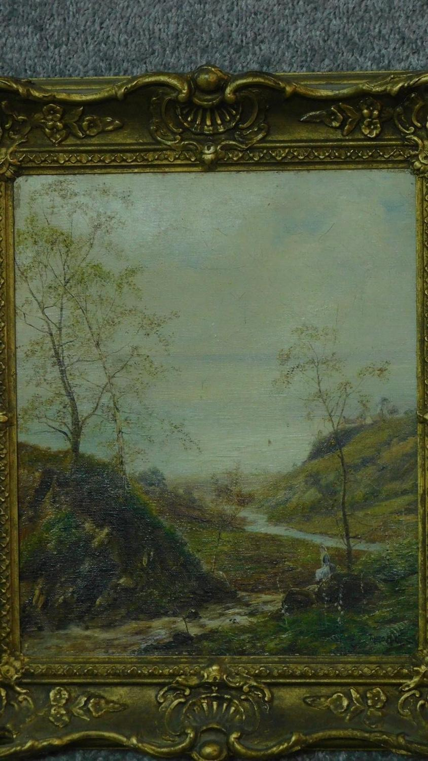A pair of gilt framed oil paintings on canvas, Scottish landscapes, signed Theo Hines, signature and - Image 2 of 6