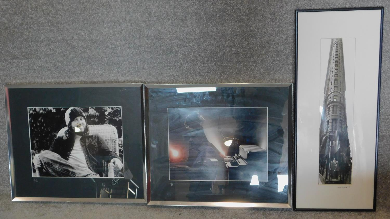 Three framed photographs, Jamie Cullum, Damon Gough and the Flatiron building. 49x57cm (largest)