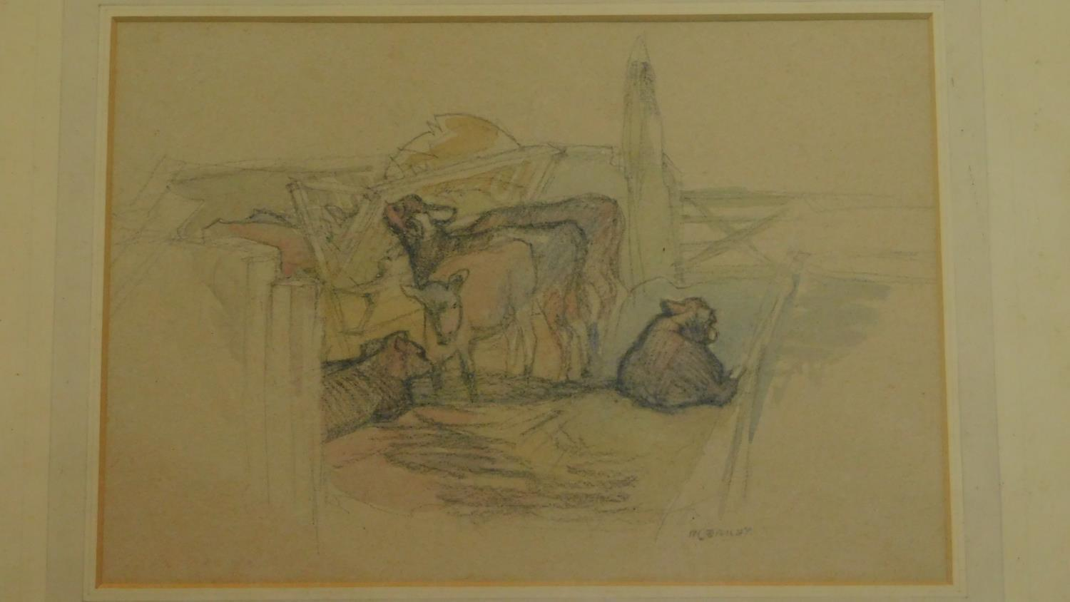 A framed and glazed pastel and watercolour sketch, cows in a farmyard, signed Ivy Bailey, gallery - Image 2 of 4
