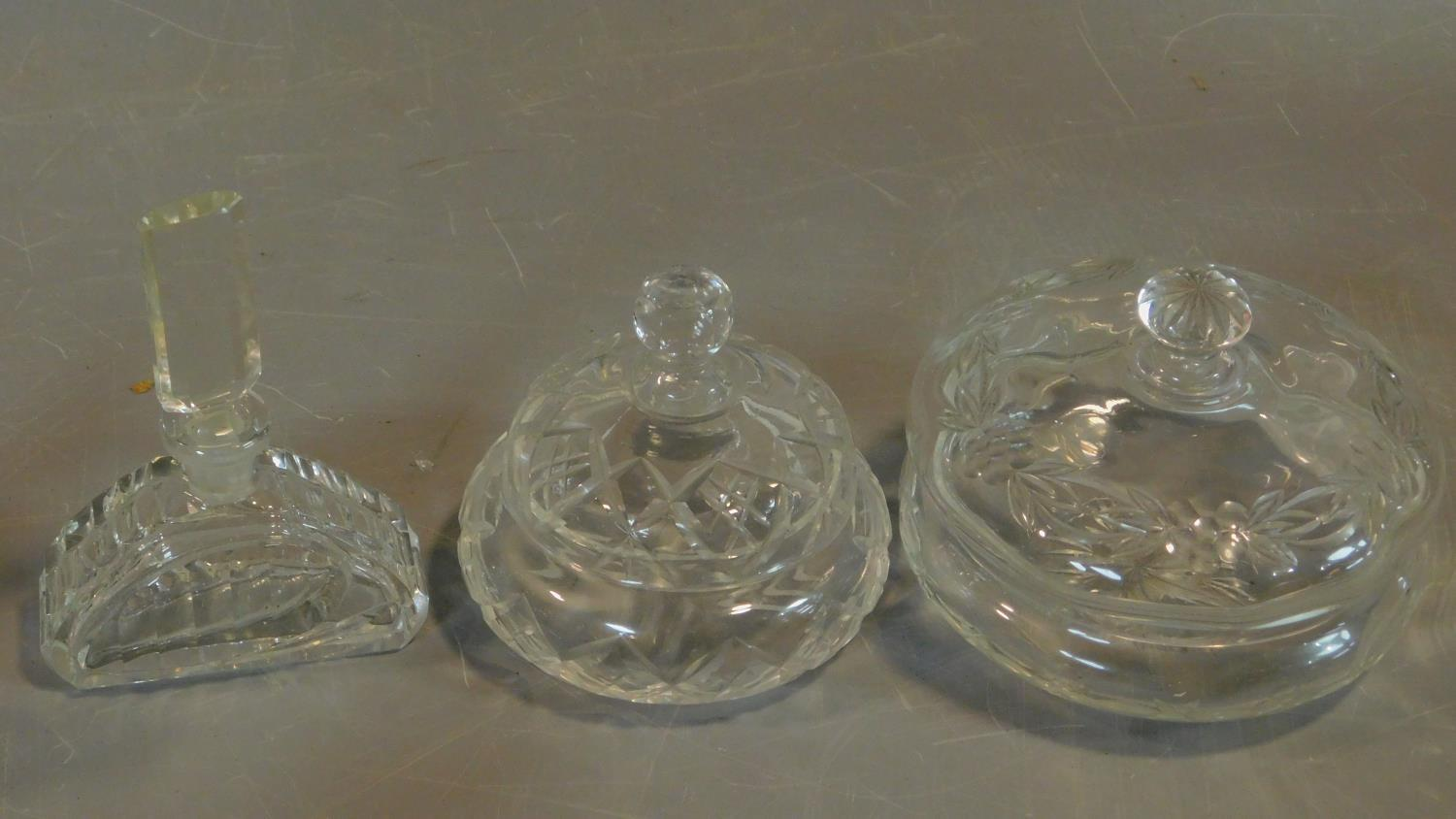 A pair of cut crystal scent bottles with gilt metal collars and a collection of other similar items. - Image 4 of 4