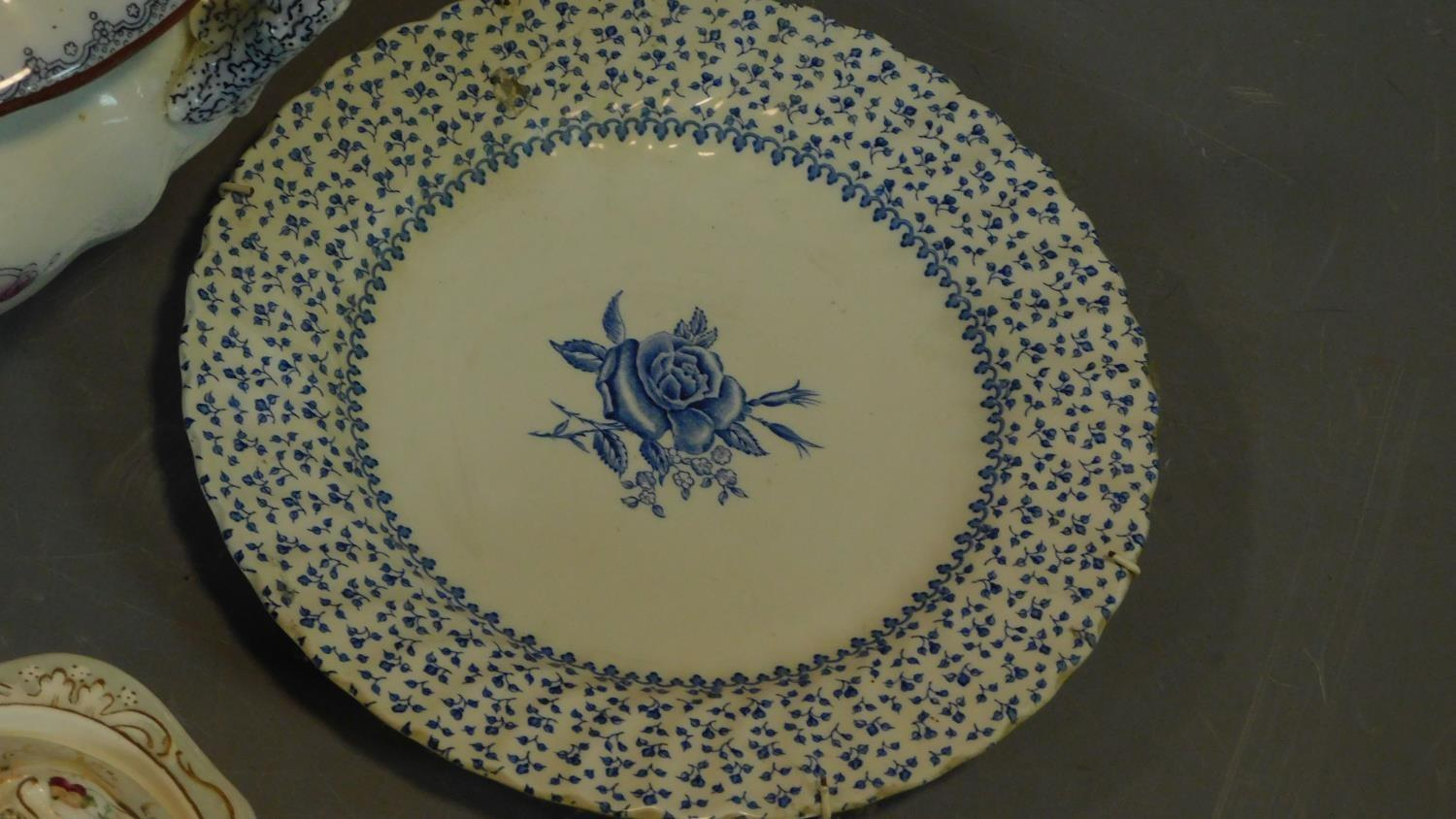 A 19th century Staffordshire ironstone tureen and cover (associated ladle) and various other - Image 8 of 18
