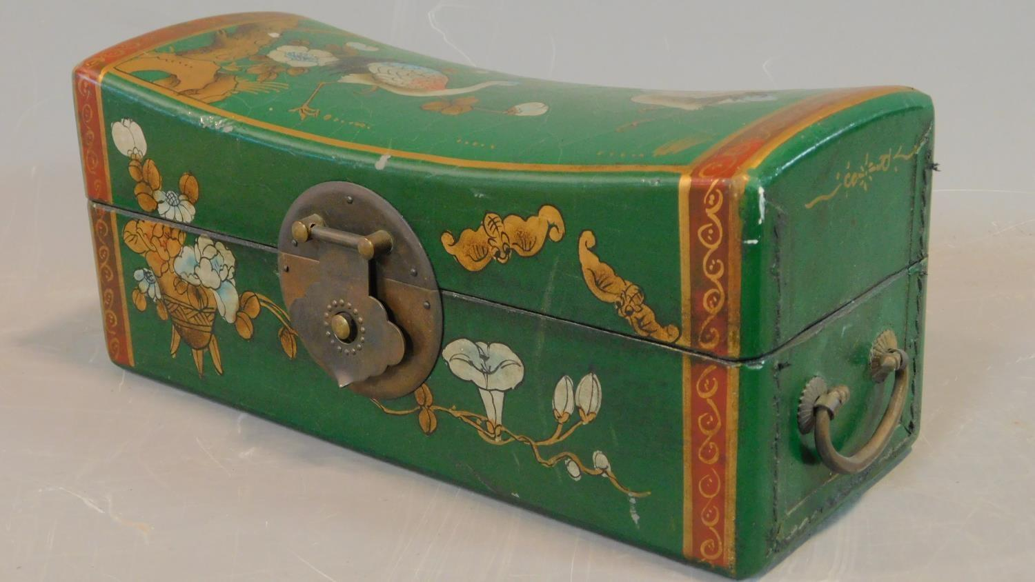 A green painted and lacquered Chinese box with floral motifs. H.12 W.28 D.11.5cm - Image 2 of 9
