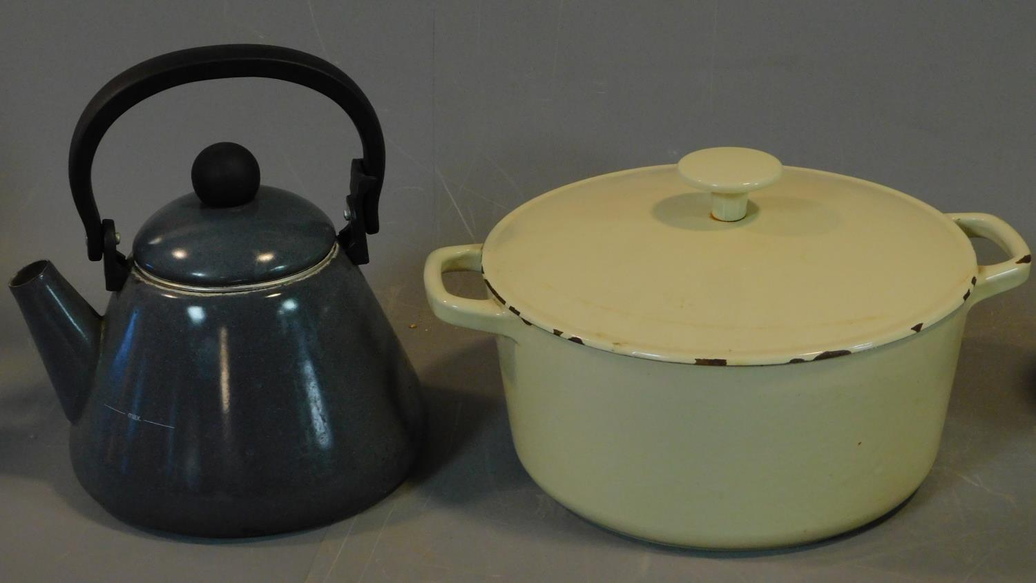A le Creuset stove kettle, (wear to enamel on base) a cast iron enamelled lidded pot, a blue and - Image 4 of 7