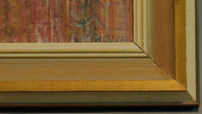 A framed oil on board, modernist landscape, indistinctly signed. 48x58cm - Image 4 of 5