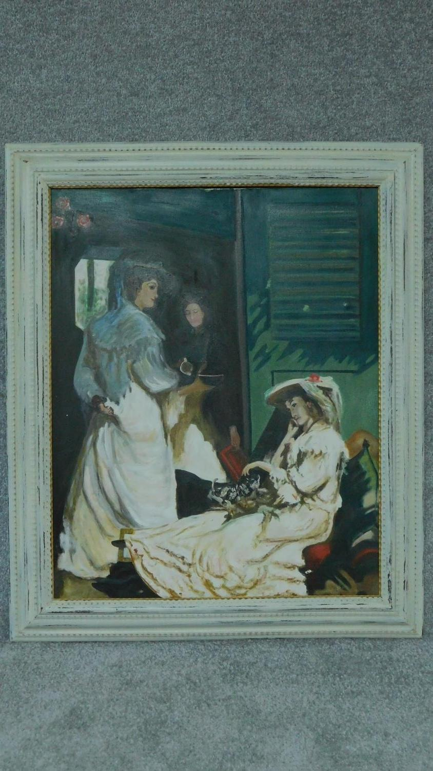 An oil on canvas, impressionist style interior scene in painted frame, signed verso. 89x75cm