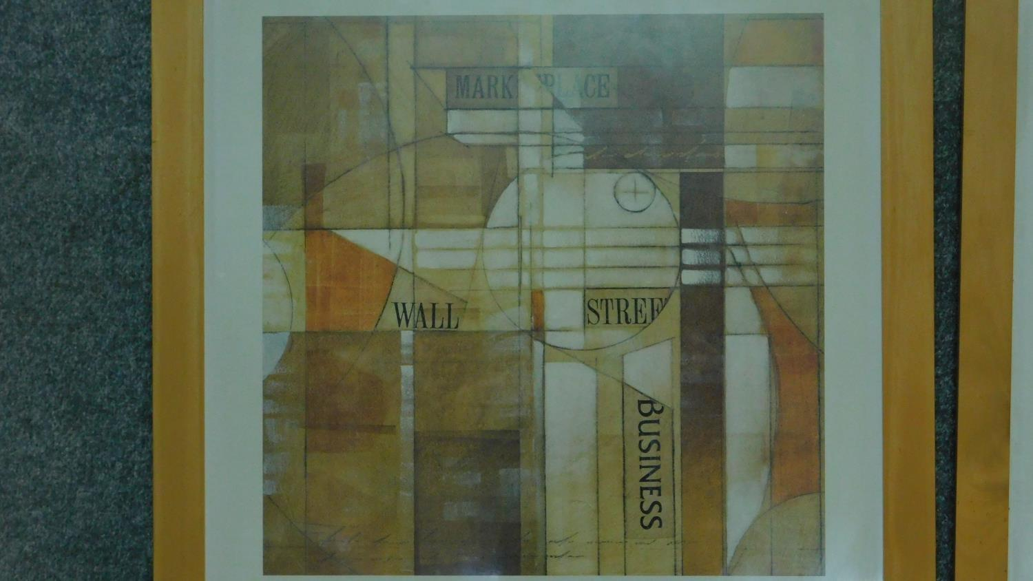 A pair of framed and glazed prints, cubist style Wall Street Journal. 65.5x63.5cm - Image 2 of 4