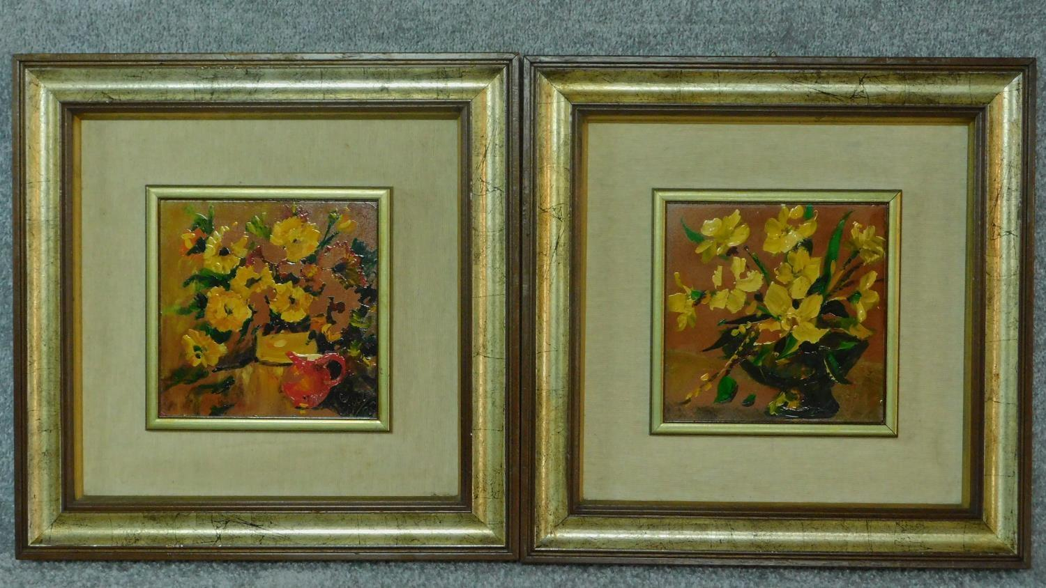 A pair of framed oils on board, still life flowers, monogrammed. 45x45cm (some paint flaking)