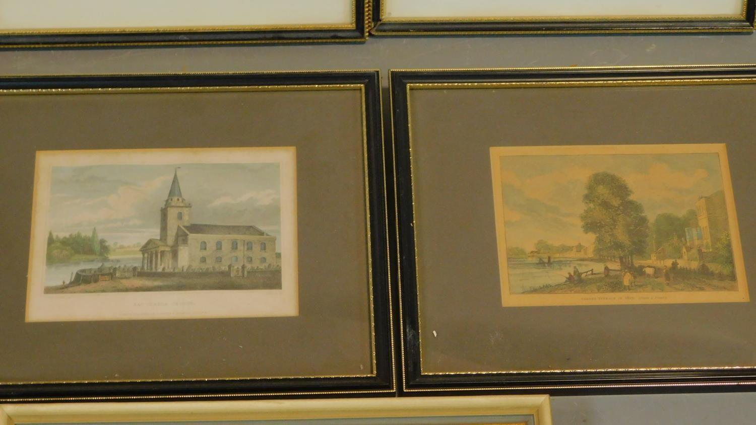 A miscellaneous collection of eleven framed and glazed prints of avian and architectural interest. - Image 4 of 7