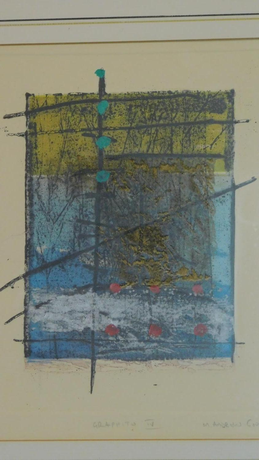 A set of three limited edition lithographs signed by the artist, graffito ll, lll and lV. 55x47cm - Image 4 of 7