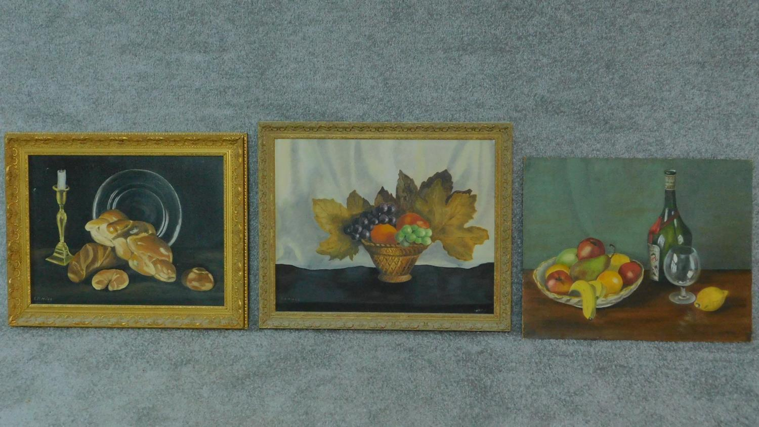 A collection of three oils on board, still life. 57x46cm