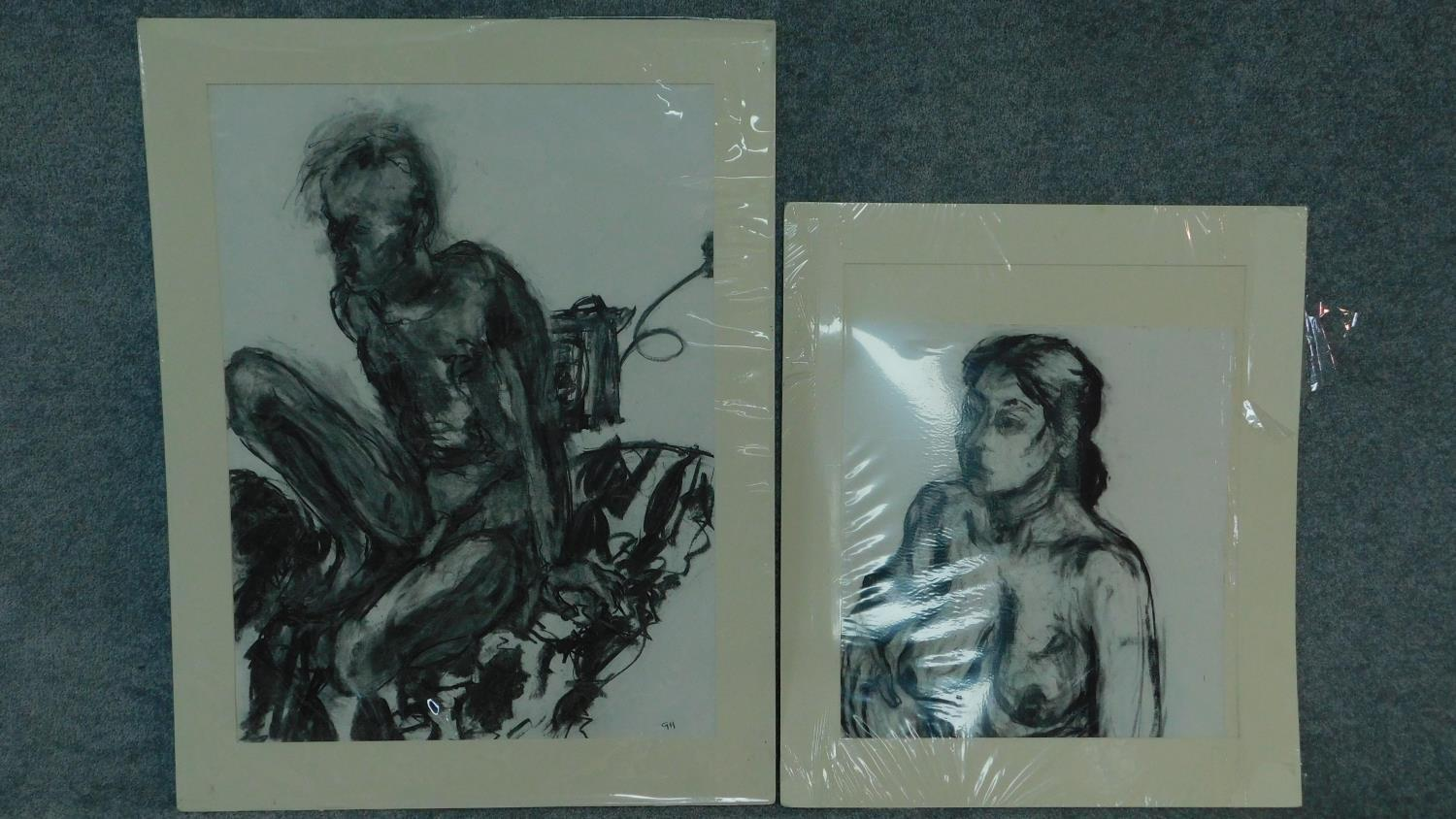 Two unframed mounted charcoal sketches, nude studies, monogrammed G H - 90x70 (largest)