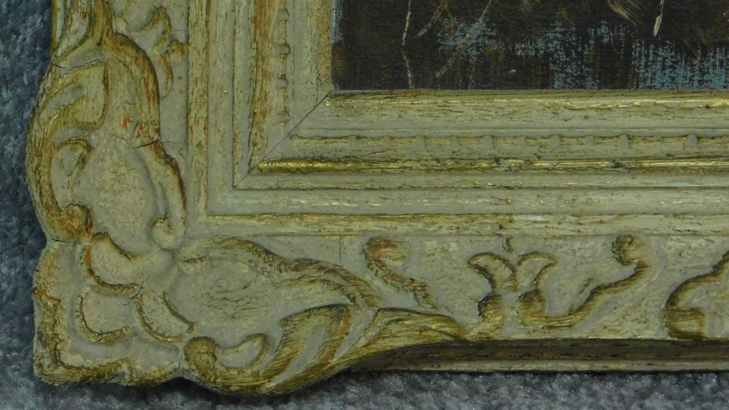 A gilt framed oval oil on board, flowers, an oil on canvas lake scene and and a pastel portrait of a - Image 8 of 9