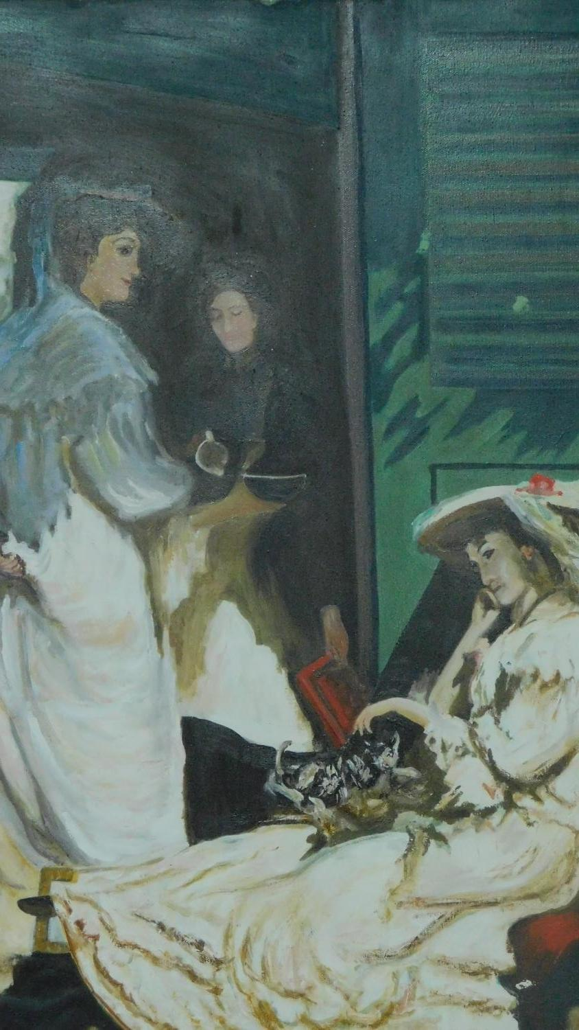 An oil on canvas, impressionist style interior scene in painted frame, signed verso. 89x75cm - Image 2 of 6