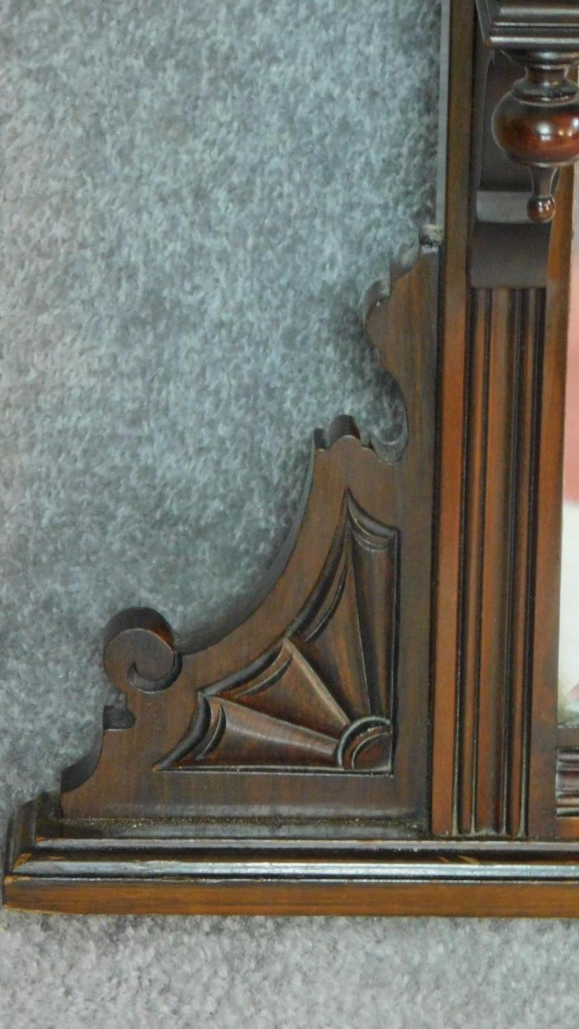 A Victorian carved walnut overmantel mirror with original bevelled plates. H.142 W.149 D.20cm - Image 6 of 7