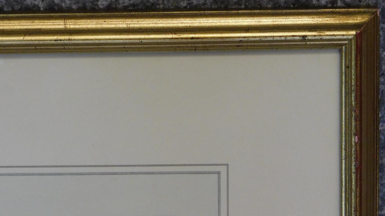 A framed ink sketch, Parisian scene. 49x54cm - Image 3 of 4