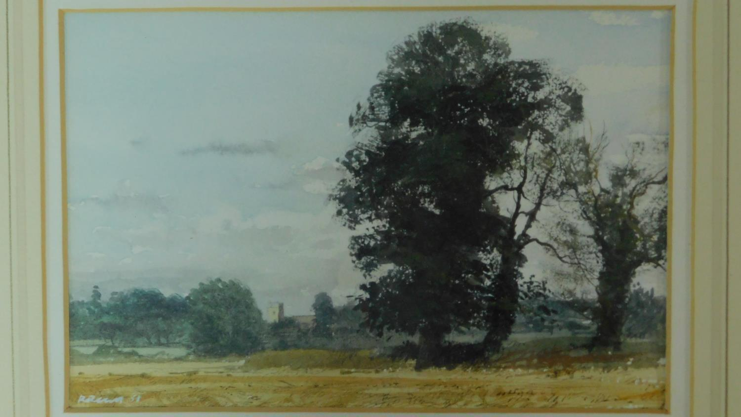 A framed and glazed watercolour, cart on a bridge in bucolic scene, indistinctly signed and a - Image 2 of 7