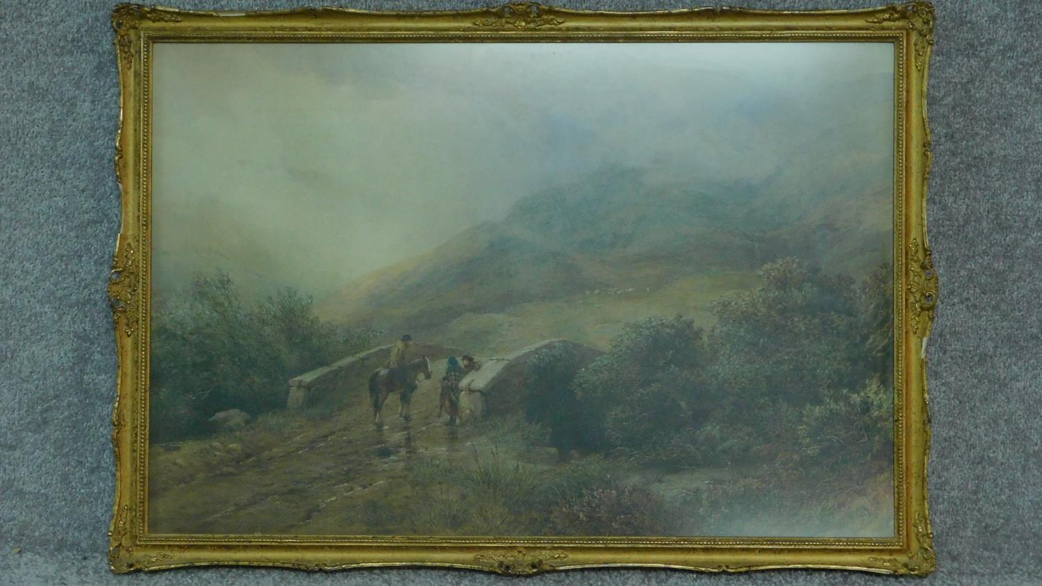 A 19th century framed and glazed watercolour, Dartmoor scene, signed D. H. McKewan, 1873, label