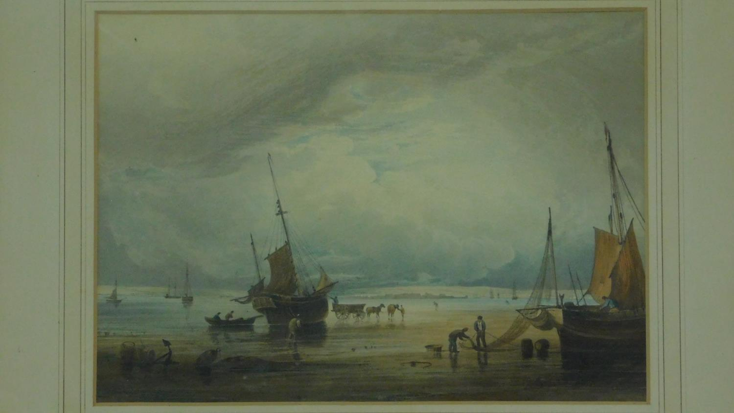 A 19th century framed and glazed print, sailing ships on beach. 54x45cm - Image 2 of 4