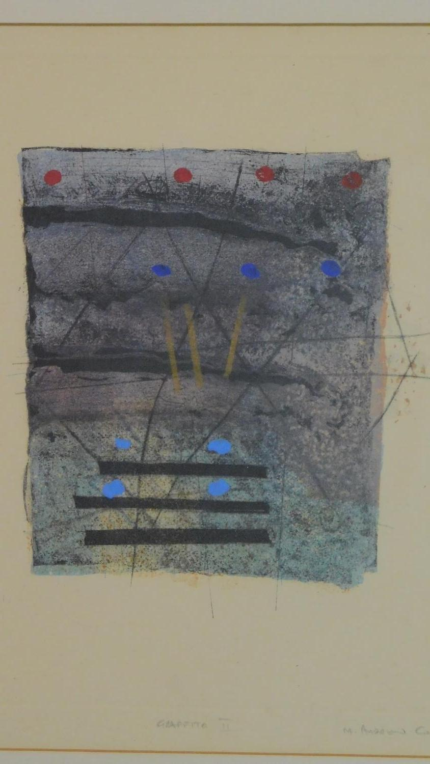 A set of three limited edition lithographs signed by the artist, graffito ll, lll and lV. 55x47cm - Image 2 of 7