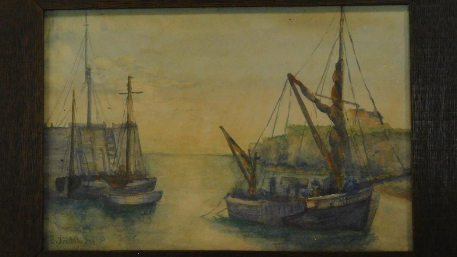A framed and glazed watercolour, ships at sea and another similar. 49x39 - Image 4 of 6