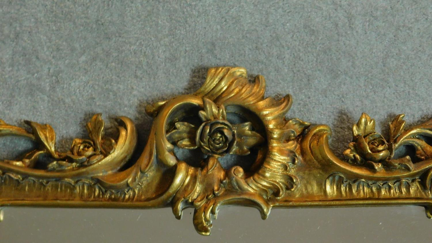 An elaborately carved giltwood rococo style wall mirror 156x85 - Image 4 of 6