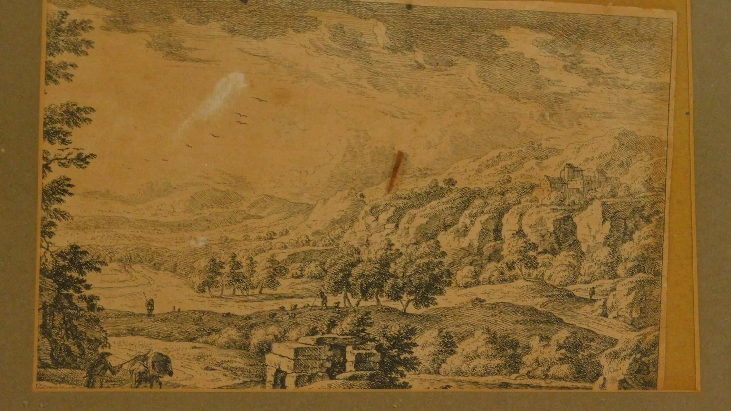 A miscellaneous collection of five 18th century and later framed and glazed prints and an unframed - Image 5 of 7