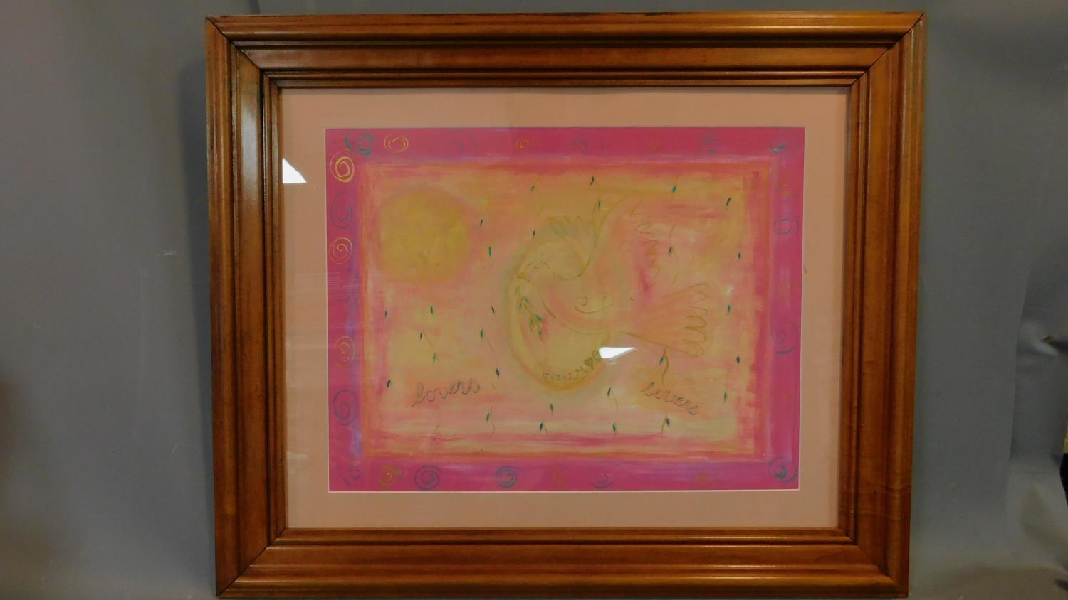 A large framed and glazed pastel, Dove of Peace. 80x96cm