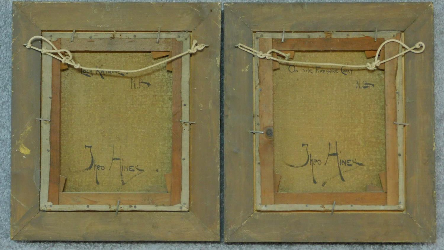 A pair of gilt framed oil paintings on canvas, Scottish landscapes, signed Theo Hines, signature and - Image 6 of 6