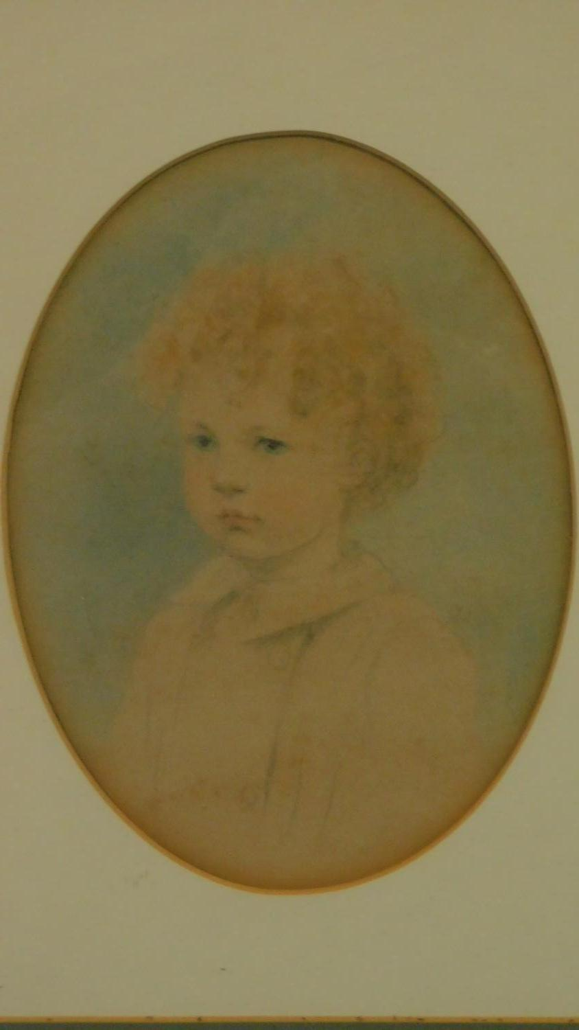 A gilt framed and glazed watercolour sketch of a young child set in oval mount. 43x36cm - Image 2 of 3