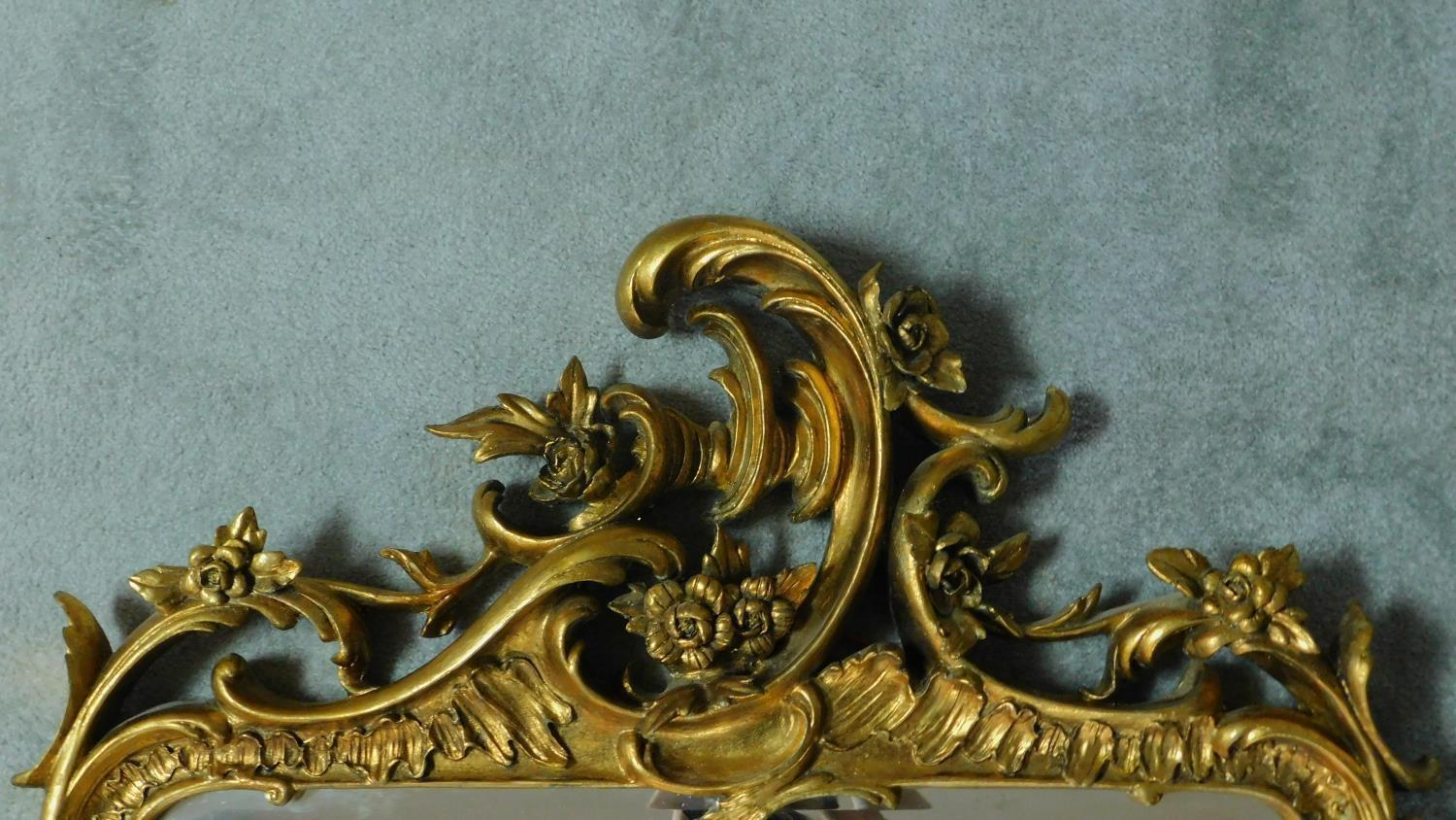 An elaborately carved giltwood rococo style wall mirror 156x85 - Image 2 of 6