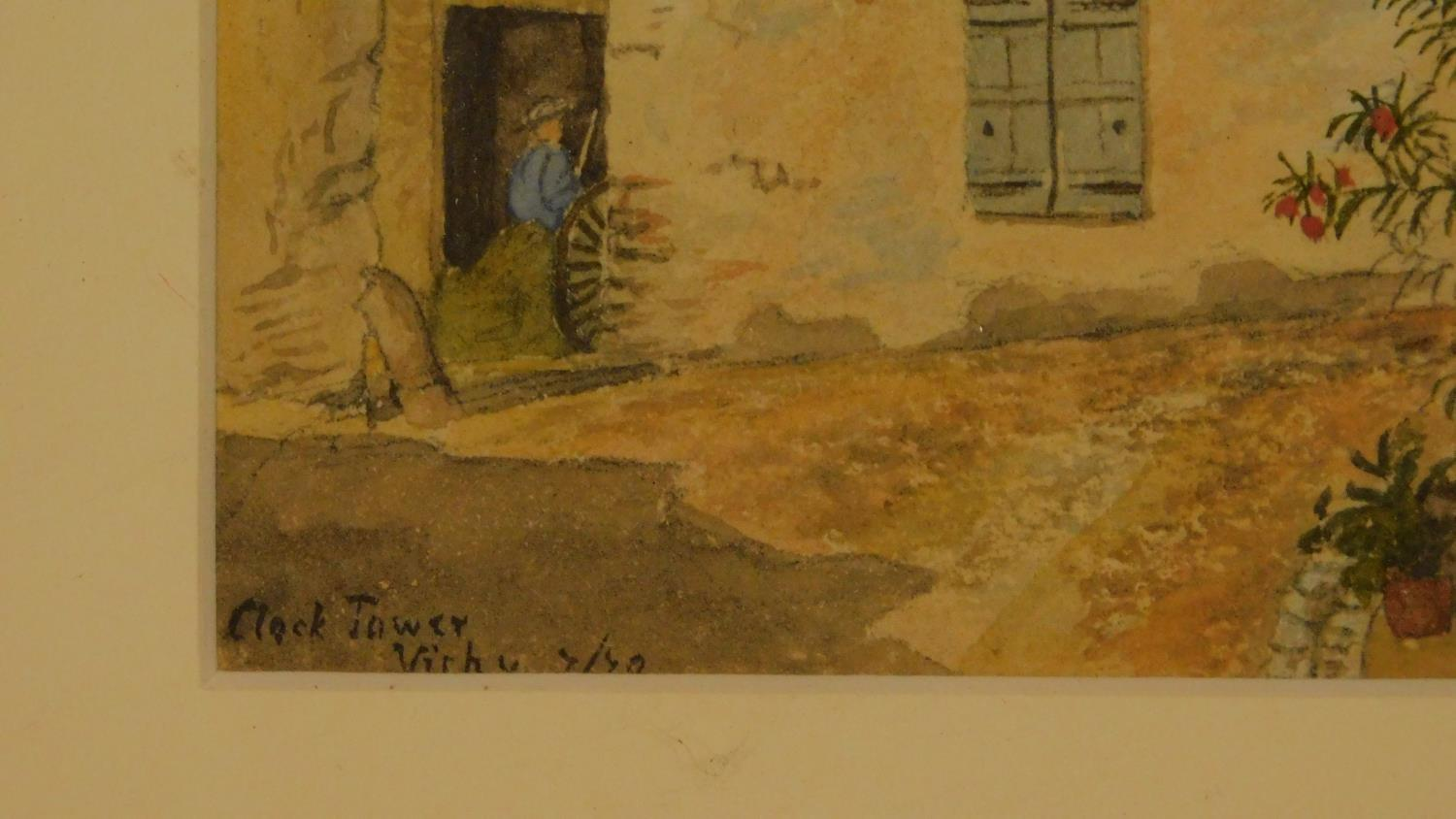 Three framed and glazed watercolours: street scene, a continental castle and farm buildings. 39x29cm - Image 5 of 7