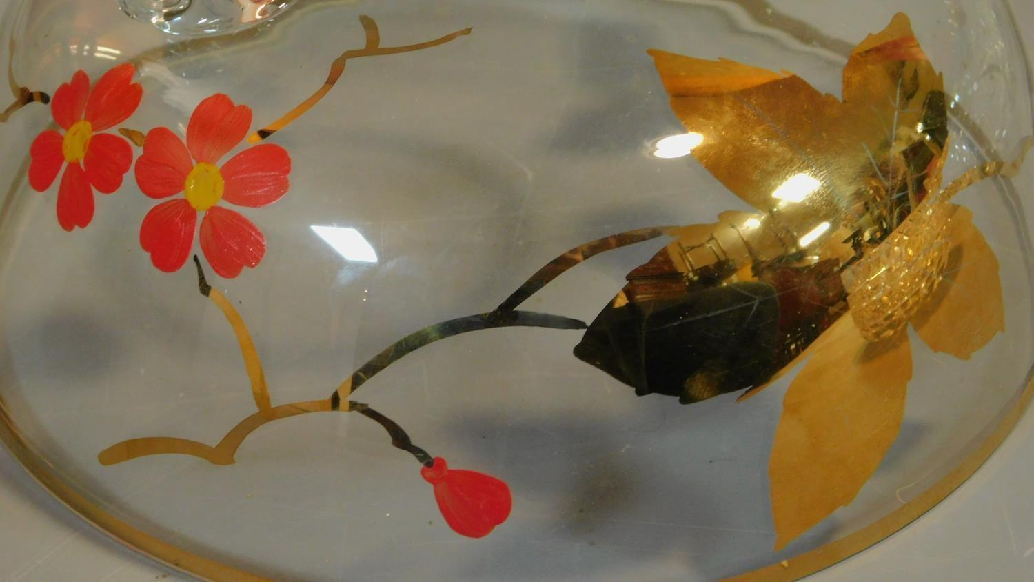A vintage painted decorated dessert set and a collection of miscellaneous glass items. - Image 7 of 7
