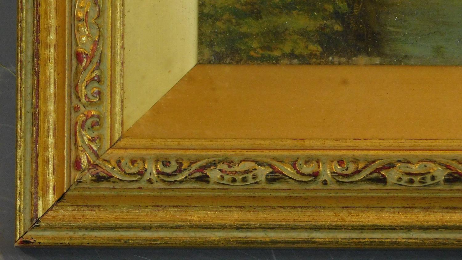 A gilt framed and glazed oil on board of a continental canal scene. 49x37cm - Image 3 of 4
