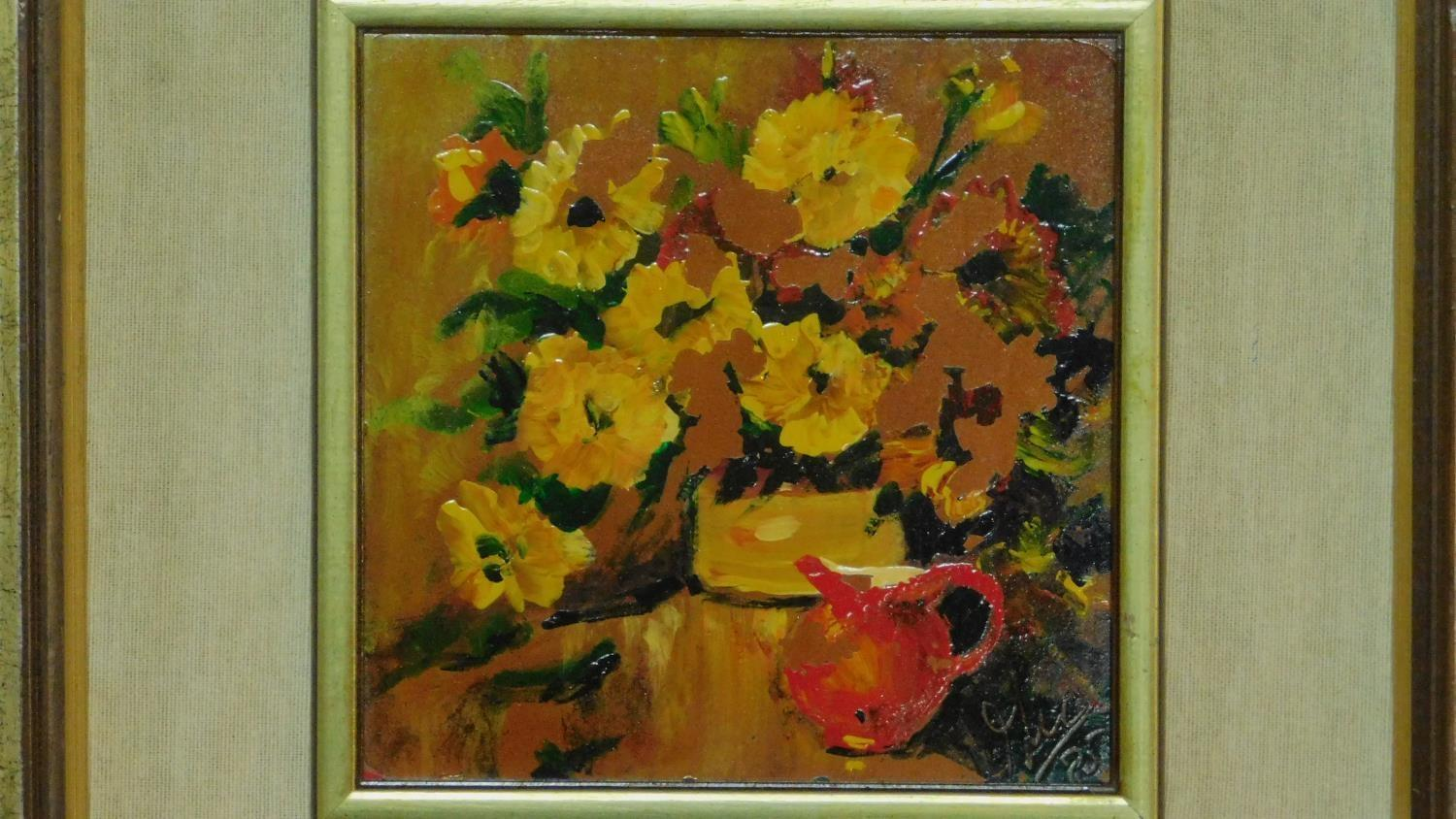 A pair of framed oils on board, still life flowers, monogrammed. 45x45cm (some paint flaking) - Image 2 of 5
