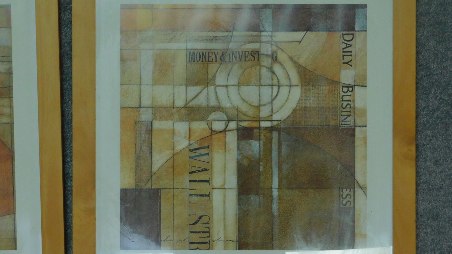 A pair of framed and glazed prints, cubist style Wall Street Journal. 65.5x63.5cm - Image 3 of 4