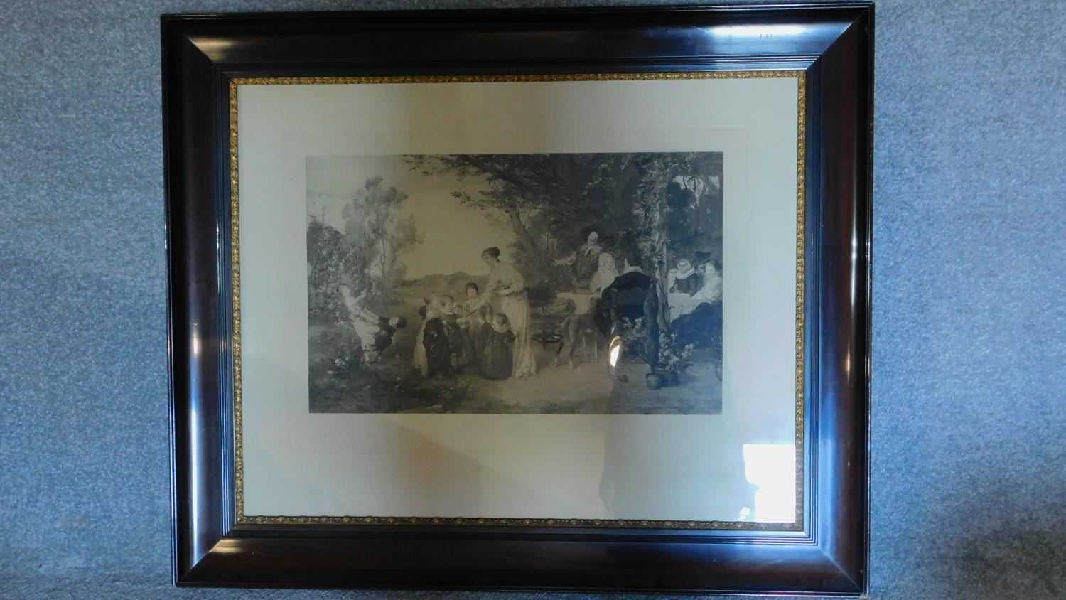 A large late 19th century glazed and framed print, Ein Maitag, after Fritz Kaulbach, by Franz
