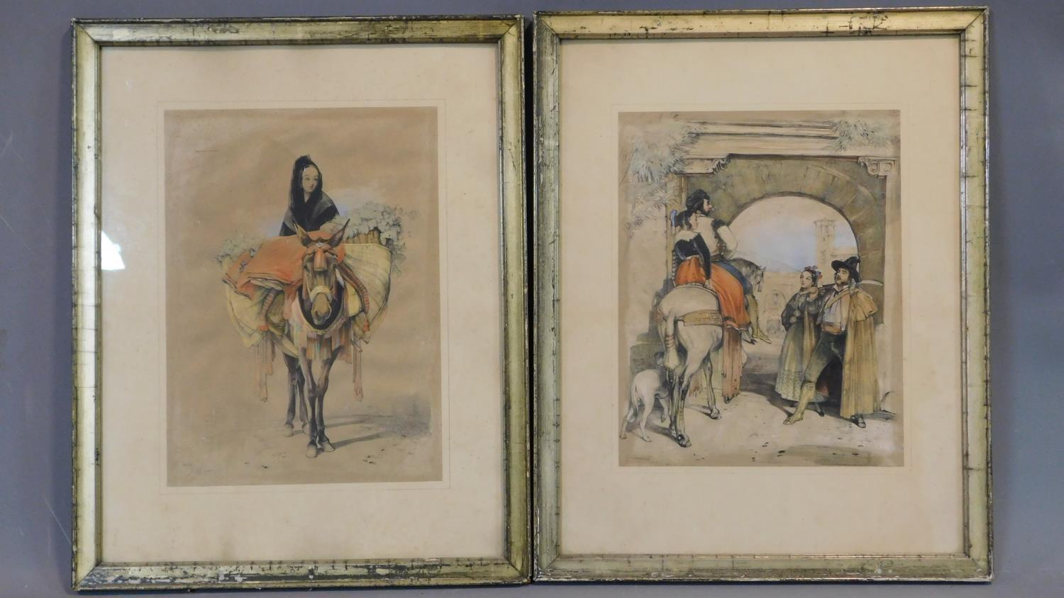 A pair of framed and glazed prints, Spanish rural scenes. 45x46cm