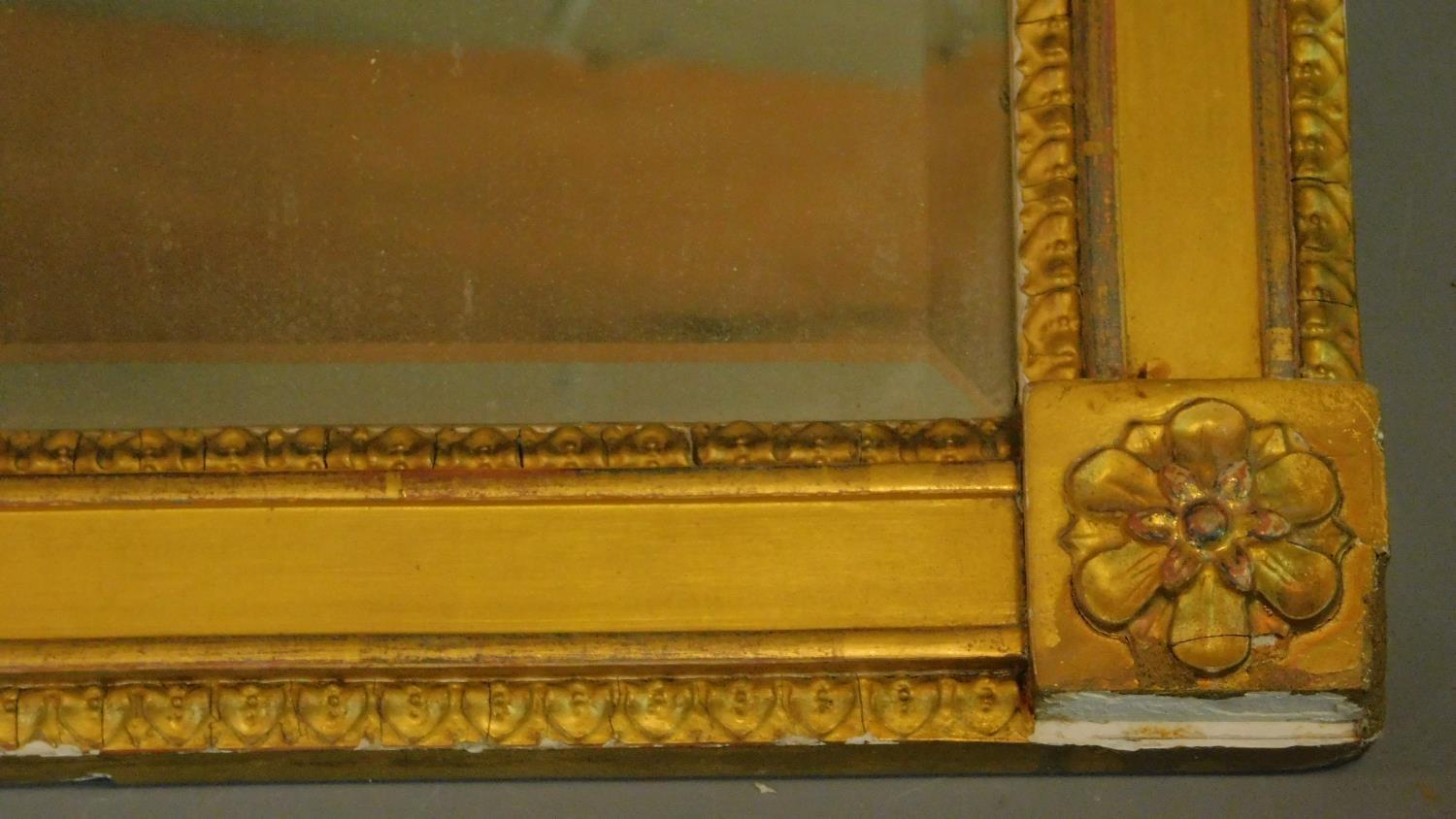 A 19th century gilt framed triple section overmantel mirror. 112x53cm - Image 2 of 3