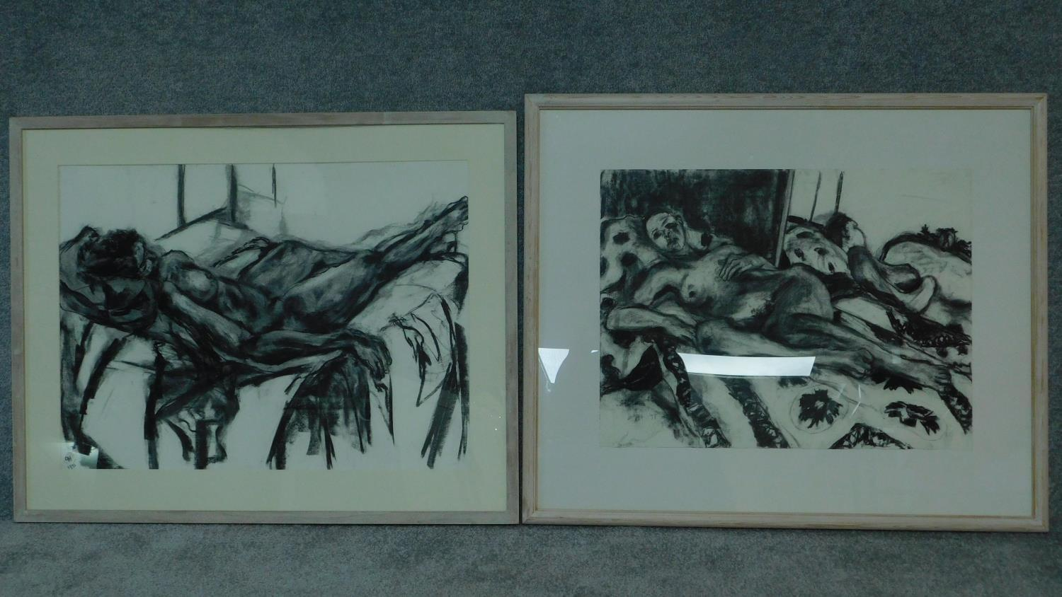 Two framed and glazed charcoal nude studies, monogrammed G H - 78x92 (largest)