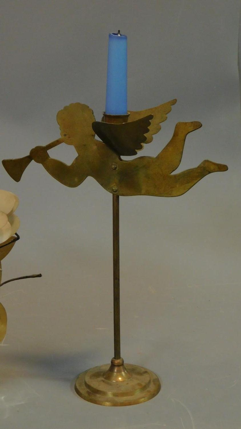 A pair of brass cherub candlesticks and a pair of mother of pearl flower arrangements. H.40cm ( - Image 2 of 3