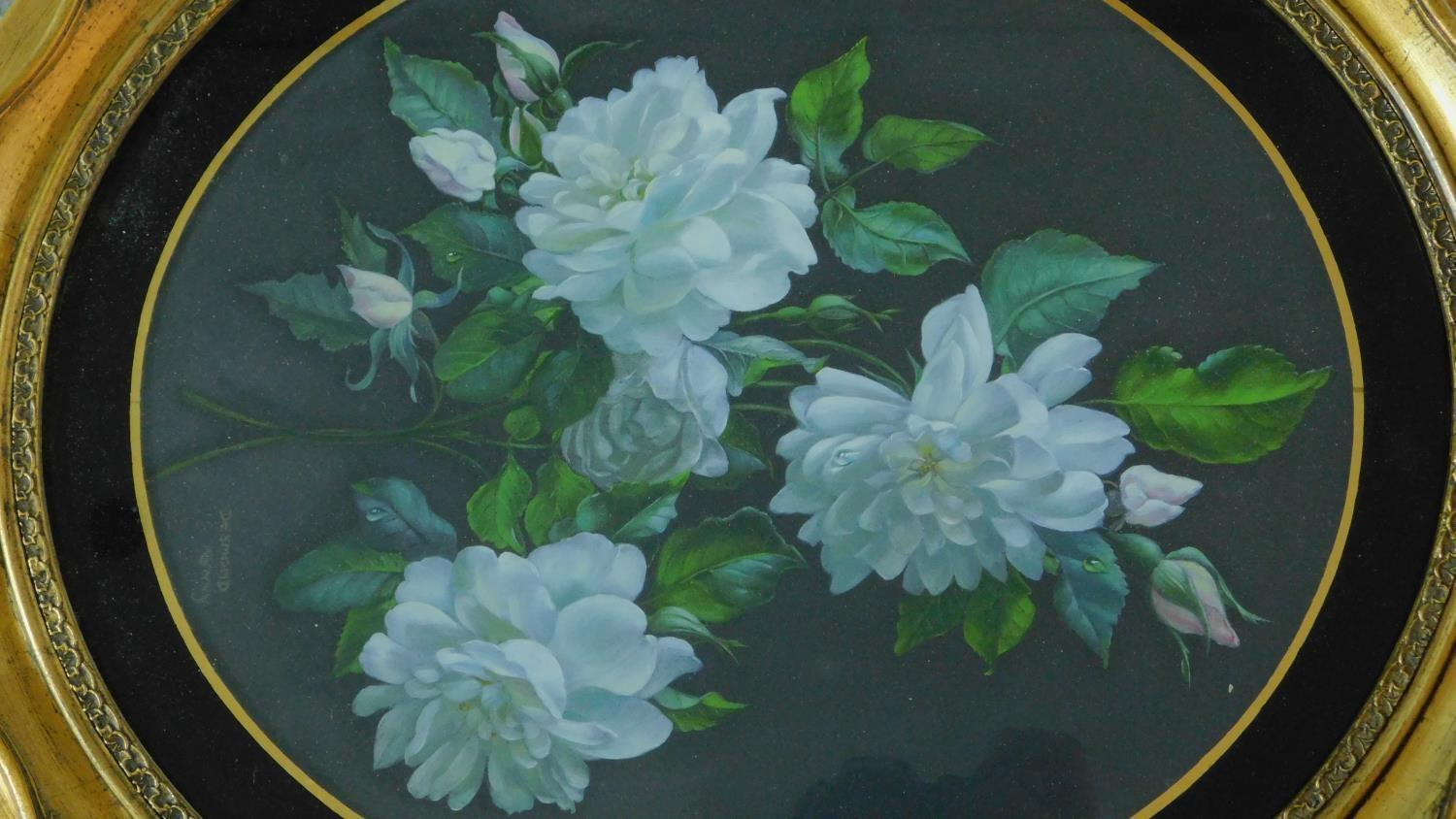 A gilt framed oval oil on board, flowers, an oil on canvas lake scene and and a pastel portrait of a - Image 6 of 9