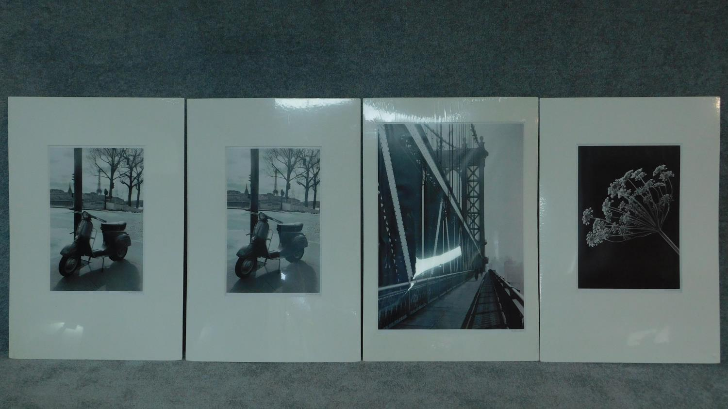 Four large mounted photographic reproductions, Eiffel tower, Brooklyn Bridge etc. 92x61