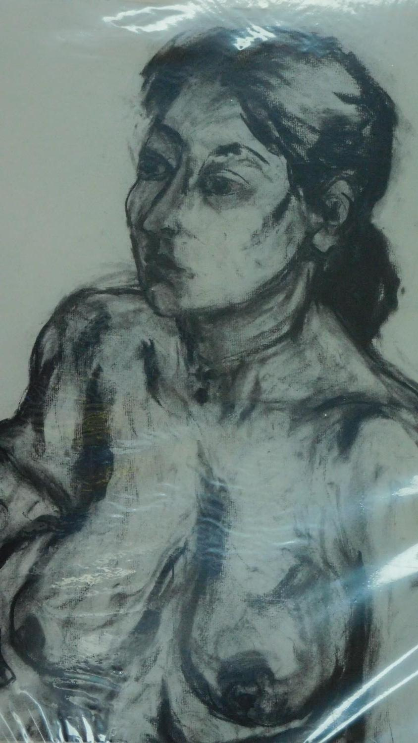Two unframed mounted charcoal sketches, nude studies, monogrammed G H - 90x70 (largest) - Image 2 of 4