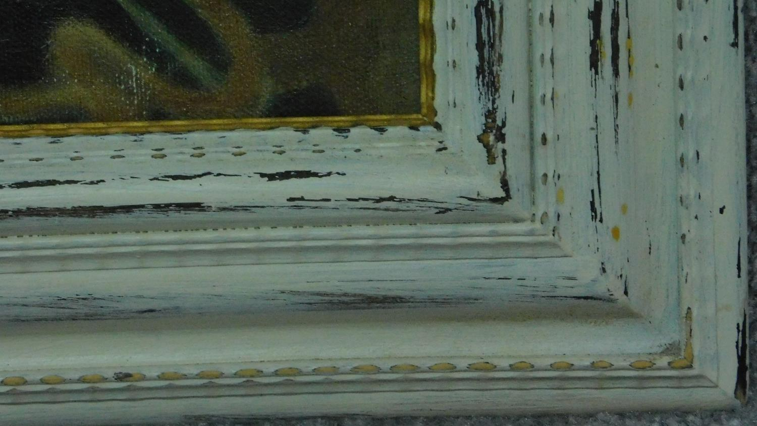 An oil on canvas, impressionist style interior scene in painted frame, signed verso. 89x75cm - Image 3 of 6