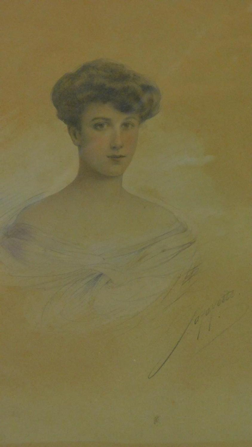 An early 20th century pencil and watercolour portrait in gilt metal easel frame. 30x21cm - Image 2 of 7
