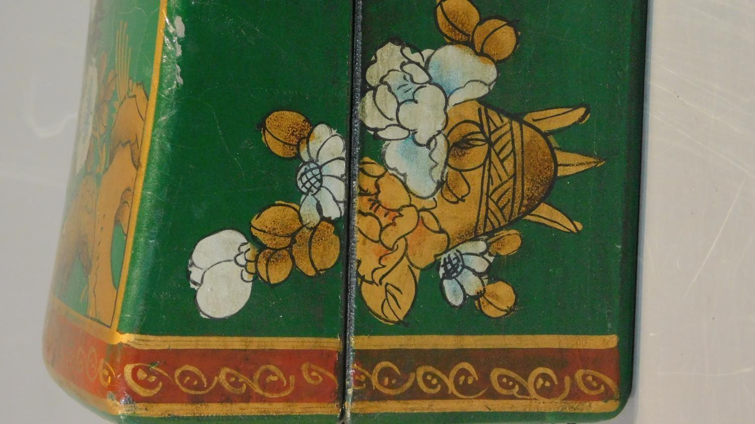 A green painted and lacquered Chinese box with floral motifs. H.12 W.28 D.11.5cm - Image 7 of 9
