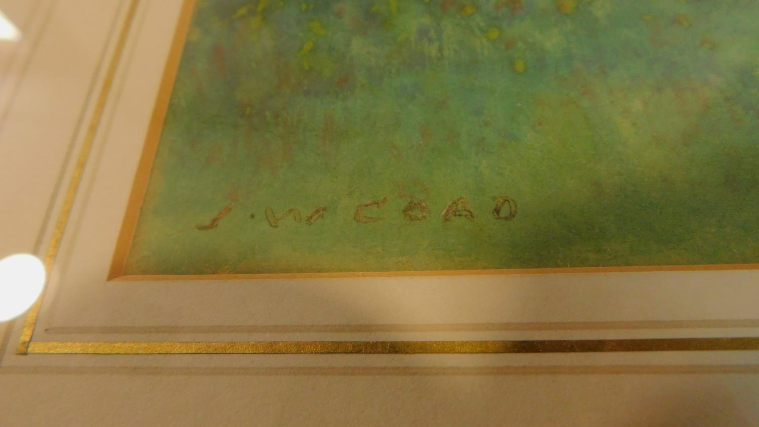 A framed and glazed watercolour, sheep on a path and boat in a riverscape, indistinctly signed. - Image 3 of 4