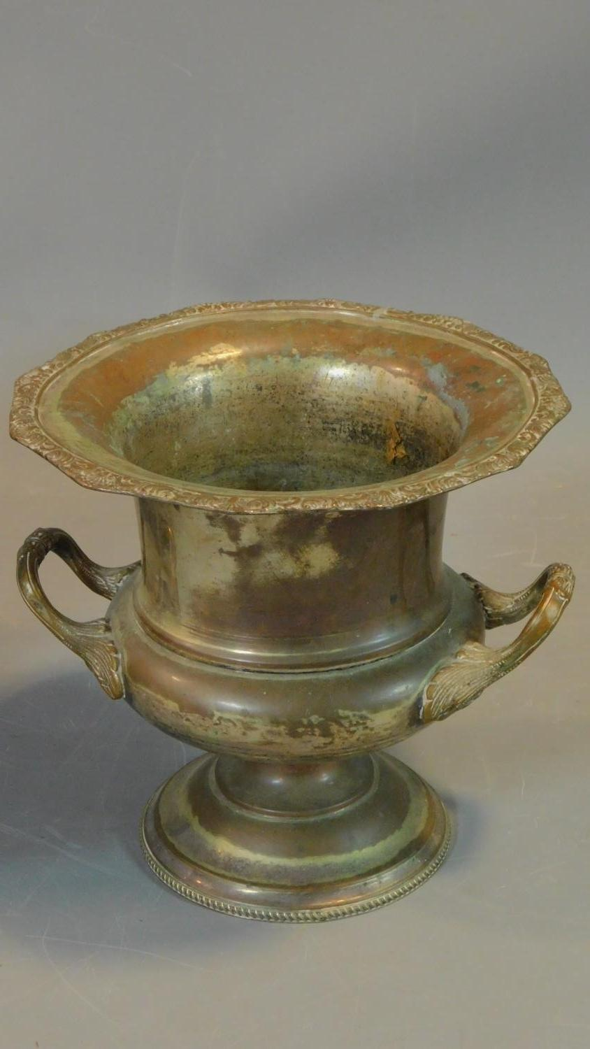 A copper and brass helmet shaped coal bucket and a campana form ice bucket. H.27cm (tallest) - Image 2 of 5